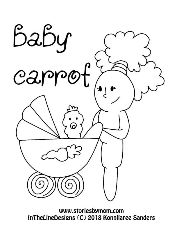 Baby Carrot #illustration #carrots #storiesbymom #coloringpage