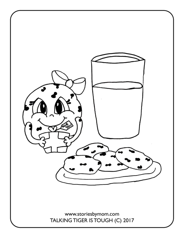 cookies and milk coloring page from the childrens book