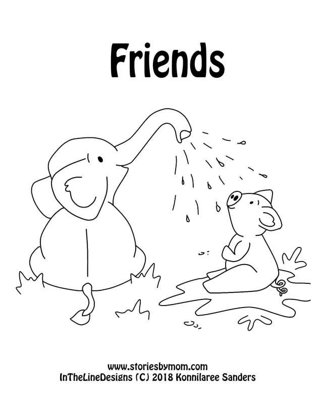 Friends #elephant #pig #coloringpage #cuteanimals #storiesbymom