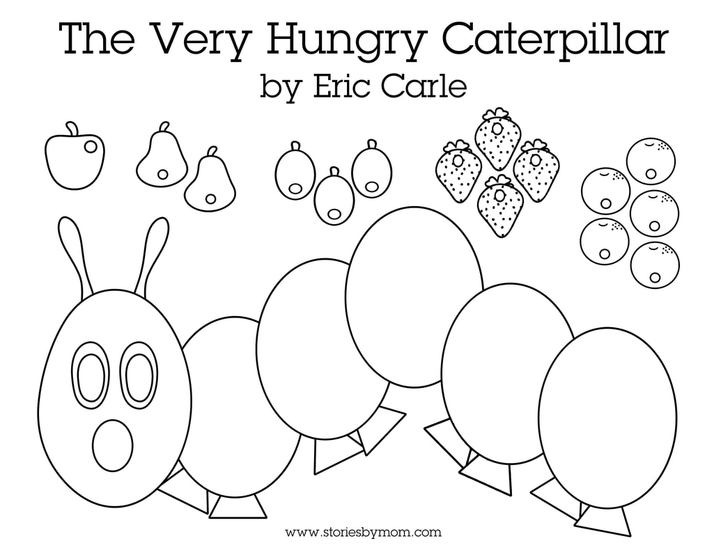 Read the Very Hungry Caterpillar by Eric Carle and Cut and Color Your Own Caterpillar with your little ones #hungrycaterpillar #books #kidstuff #coloringpages