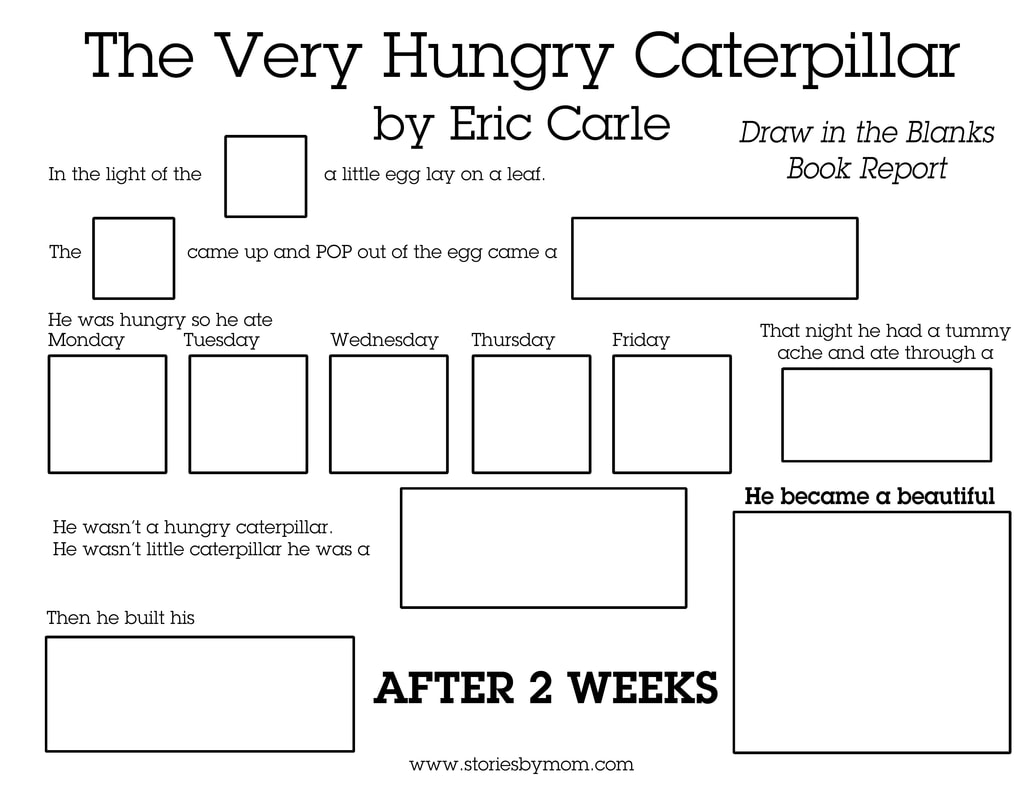 Read the Very Hungry Caterpillar by Eric Carle and Fill out this draw in the blanks worksheet with your little ones #hungrycaterpillar #books #kidsstuff #coloringpages #reading #bookreport