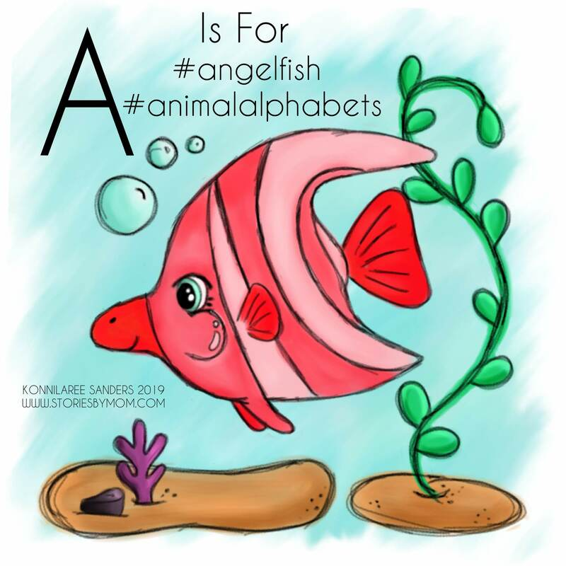 #animal #alphabet #letterA #cute #angelfish #illustration #drawing #art #kidstuff #storiesbymom