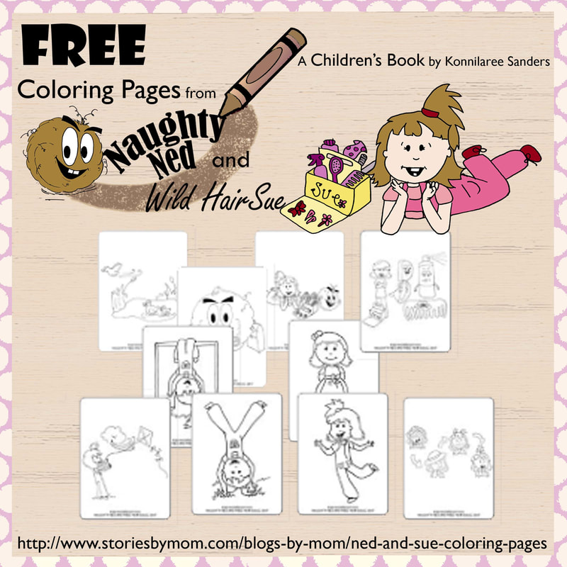 Naughty Ned and Wild Hair Sue Children's Book Coloring Page from Stories by Mom and Konnilaree Sanders #coloringpages #kidactivity #storiesbymom #hair