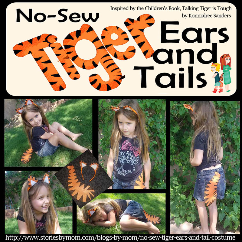 DIY No Sew Halloween Tiger Costume with Step by Step Pictures and Downloadable Templates. Inspired by the Children's Book Talking Tiger is Tough by Konnilaree Sanders and Stories by Mom Children's Books #DIYcostumes #Tigers #ChildrensBooks #Halloween