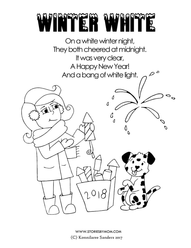 New Year Girl and #Dalmation #dog #cute #winter #cute #illustration #storiesbymom #coloringpage