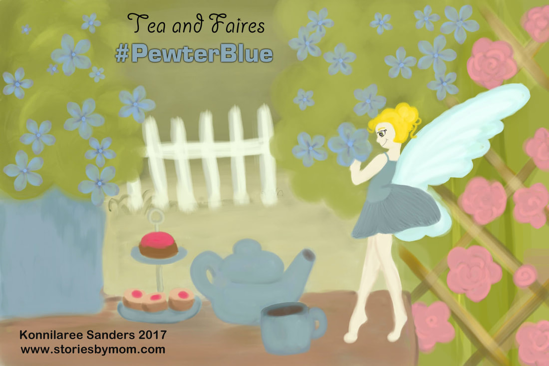 Tea and Fairies In the garden, it was time for tea. I placed two cups, one for you and me. I snuck a tea treat, Then looked at your seat. I was having tea with a fairy. Illustration and Poem by Konnilaree Sanders and Stories by Mom Children's Books