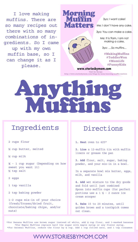 Anything Muffins. Basic recipe to use for a variety of Muffins. Visit www.storiesbymom.com for more activities and check out their Children's Books