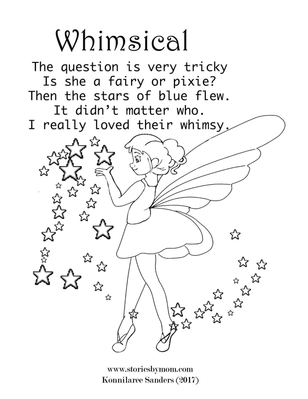 The question is very tricky Is she a fairy or pixie? Then the stars of blue flew. It didn't matter who. I really loved their whimsy.  #coloringpage #poem #storiesbymom #fairy #pixie