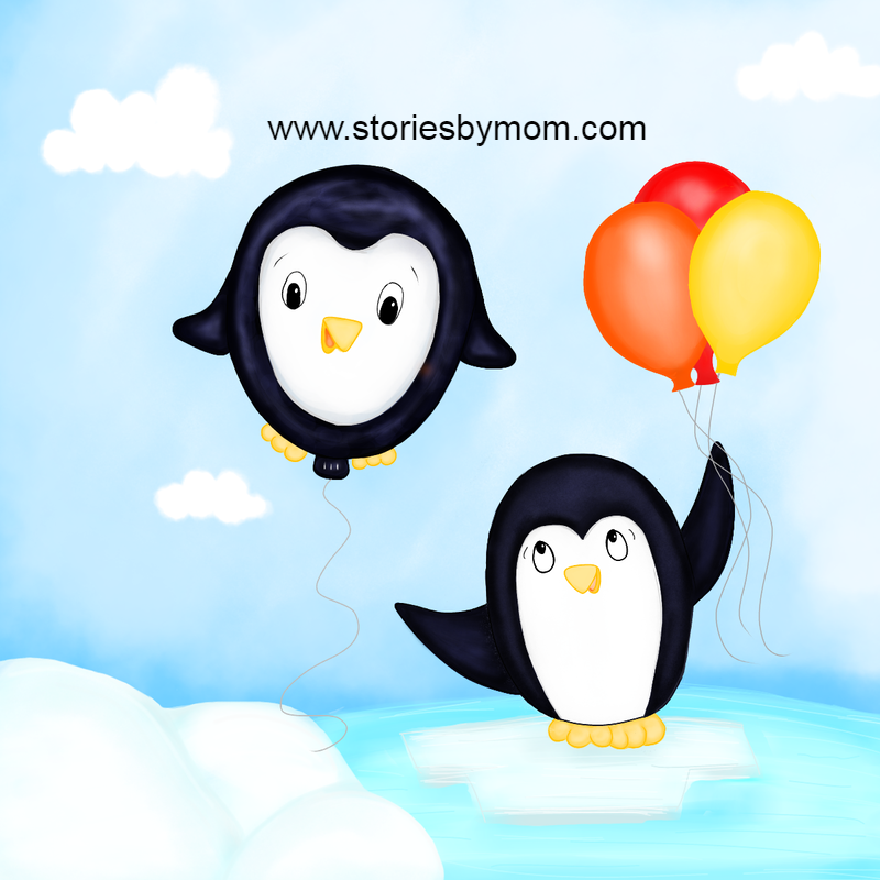 #penguins #winter #cute #animals #coloringpage #kidstuff #balloons #childrensart #illustration #storiesbymom