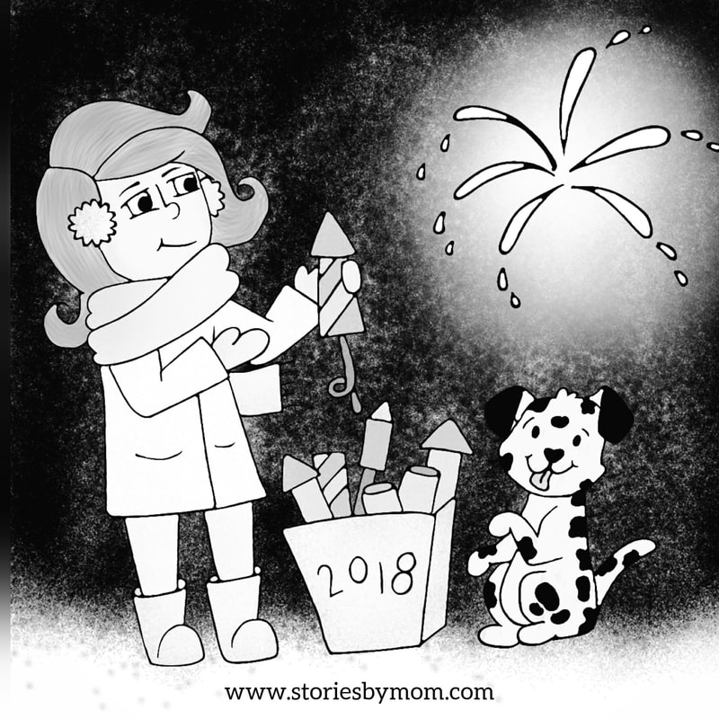 Winter White Fireworks and Dalmation Happy New Years Illustration from Stories by Mom children's books