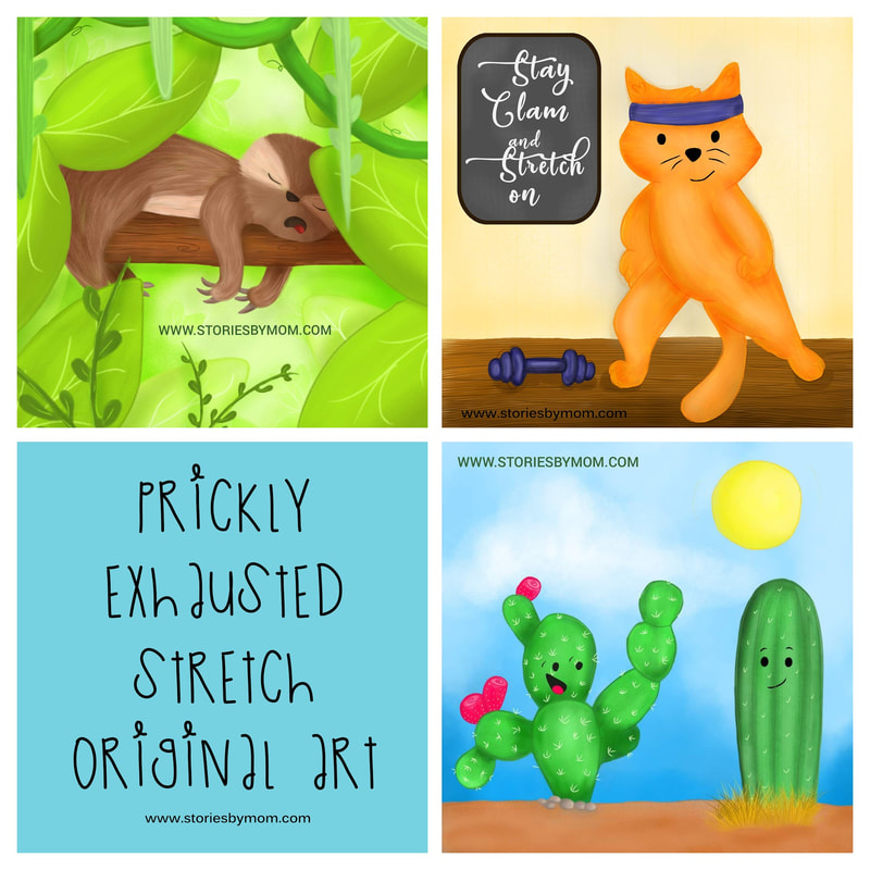 #illustrations #storiesbymom #cat #sloth #cactus #childrensart
