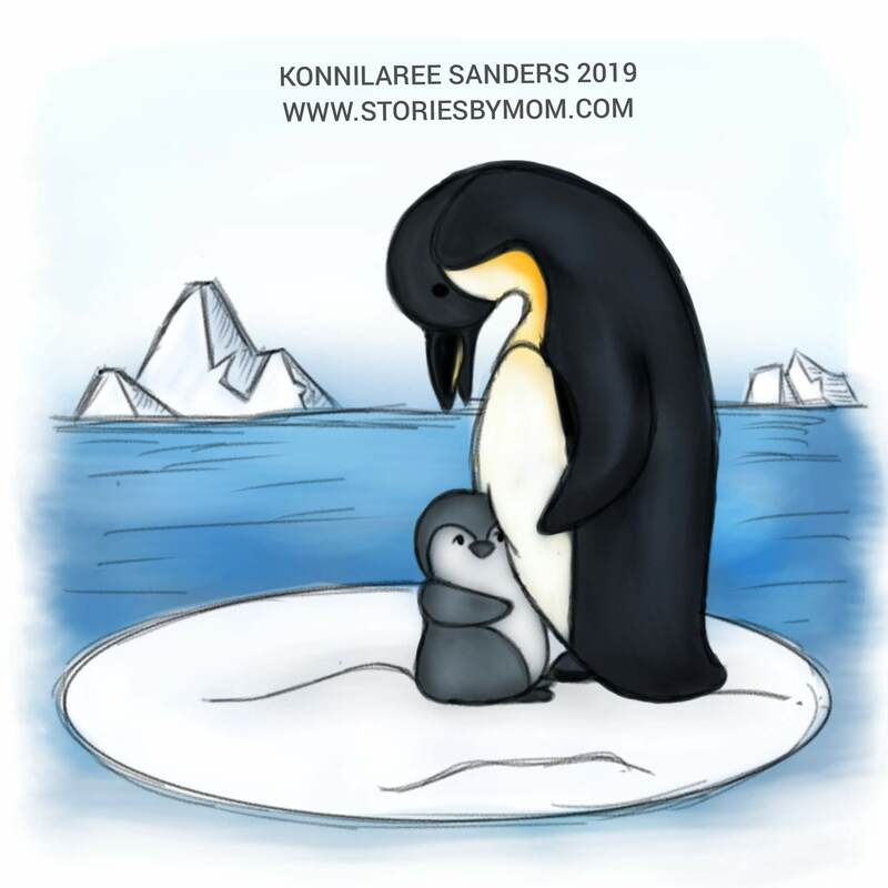 #cute #animal #mom #baby #illustration #art #storiesbymom #penguin #father #chick #artic
