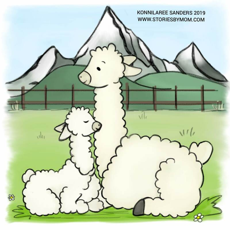 #cute #animal #mom #baby #illustration #art #storiesbymom #llama #andesmountains