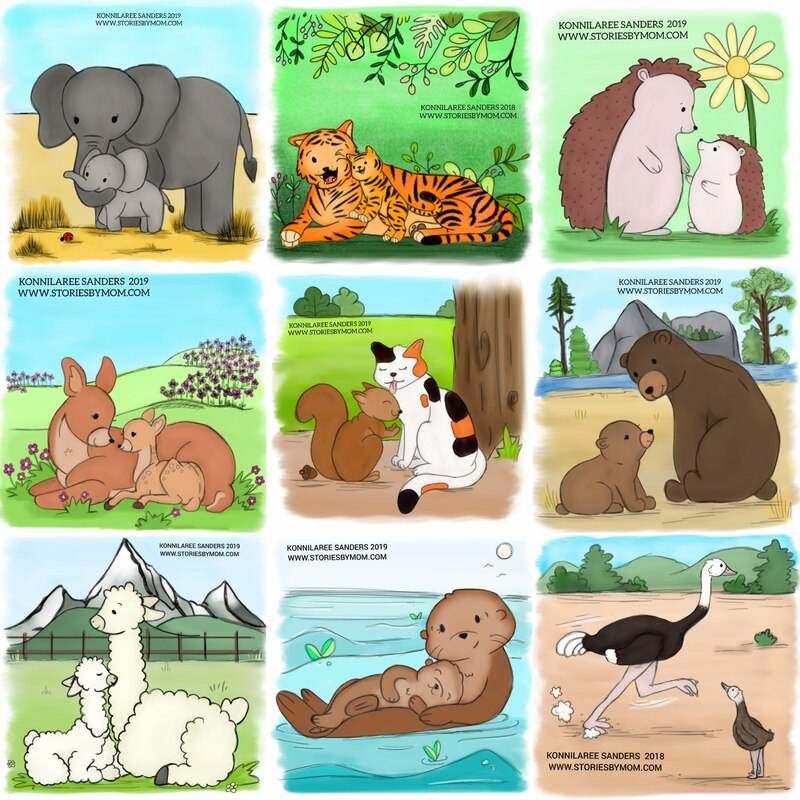 this will be part of a #childrensbook, so please follow for more information #cute #animal #mom #baby #illustration #art #storiesbymom #elephant #tiger #wild #hedgehog #deer #cat #squirrel #bear #ostrich  #otter #llama