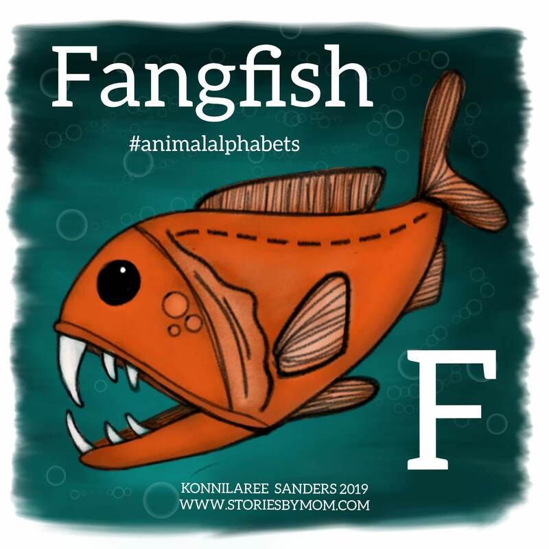 #fangfish #animalalphabets #ocean #animals #illustration #drawing #digitalart #letterF #storiesbymom #coloringpage