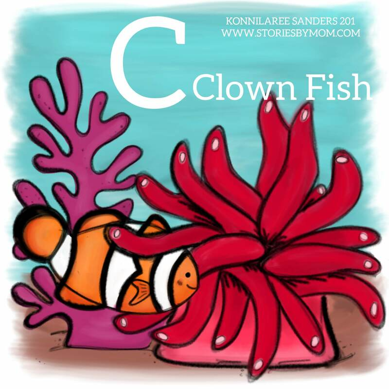 #letterC #clownfish #understhesea #animal #cute #fish #digitalart #illustration #storiesbymom #dad #baby #anemone