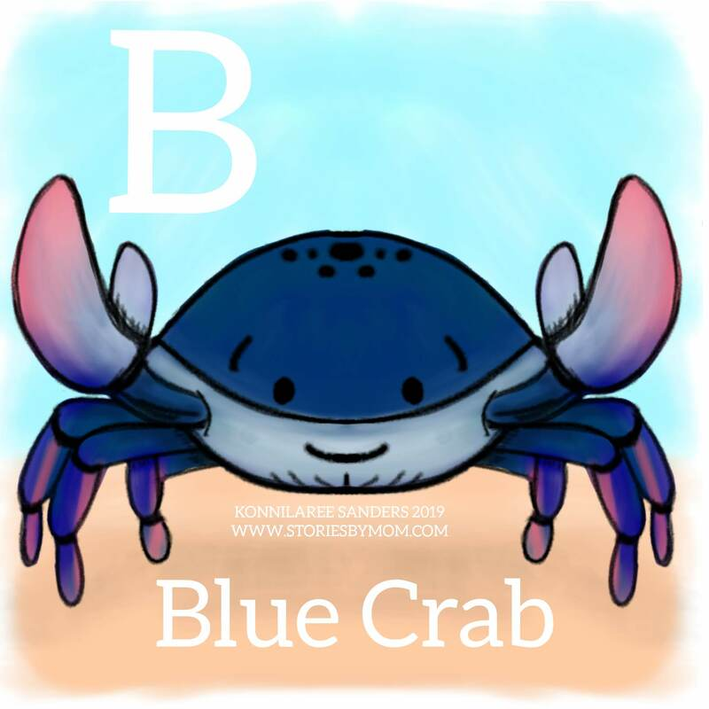 #LetterB #bluecrab #alphabet #animals #underthesea #ocean #coloringpage #storiesbymom #illustration #digitalart #drawing