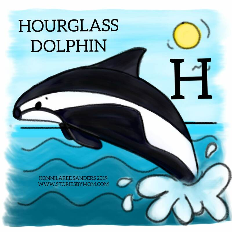 #letterh is for #hourglass #dolphin #animalalphabets #underthesea #ocean #cute #animals #digitalart #illustration #kidart #storiesbymom #processvideo #funfacts #coloringpages
