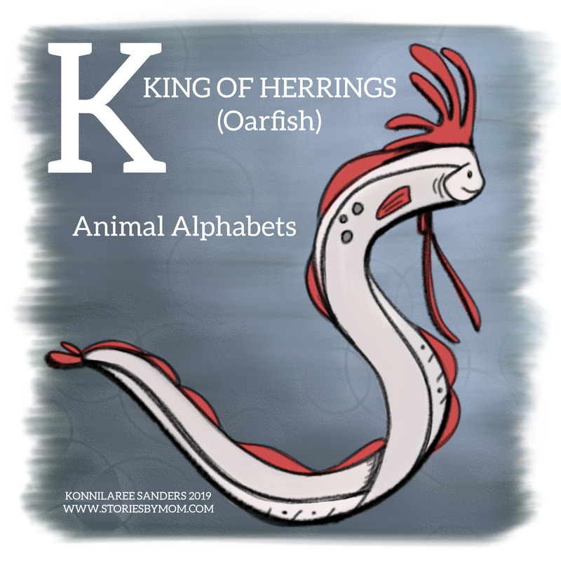 #animalalphabets #letterk #kingofherrings #oarfish #seacreatures #ocean #animals #digitalart #illustration #kidart #processvideo #coloringpage #funfacts