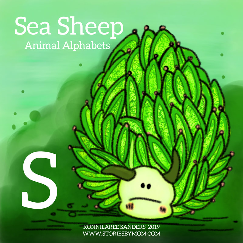 #animalalphabets #seasheep #seacreatures #ocean #animals #slug #illustration #digitalart #coloringpage #funfacts #processgif