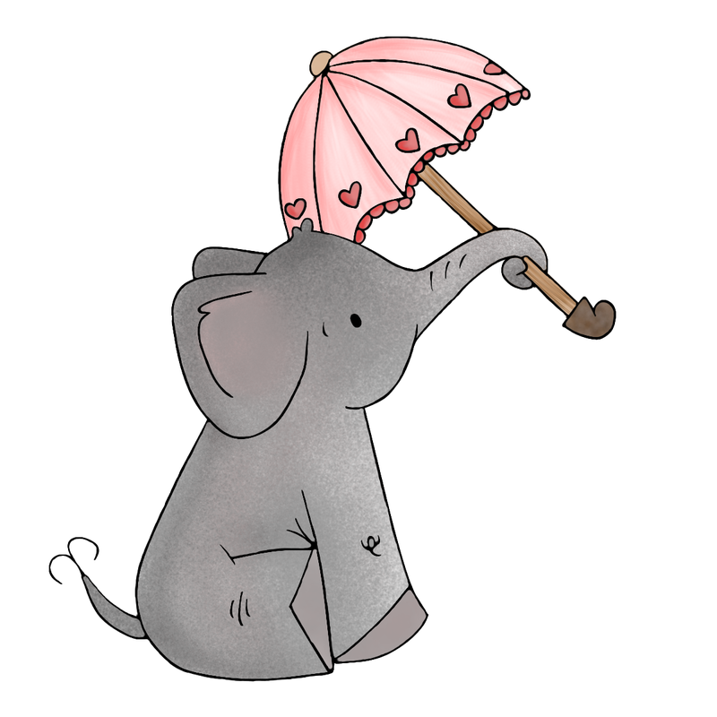 Ella's Umbrella Stories by Mom Children's Books #elephant #cute #illustration #storiesbymom #umbrella